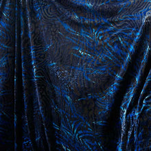 Black with Royal Blue Striped Burnout Velvet Fabric