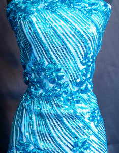 Turquoise Curved Hollywood Glamour Sequin Fabric