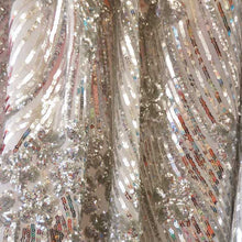 Silver Curved Hollywood Glamour Sequin Fabric