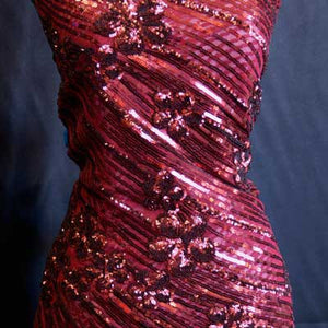 Burgundy Curved Hollywood Glamour Sequin Fabric