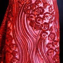 Red Curved Hollywood Glamour Sequin Fabric
