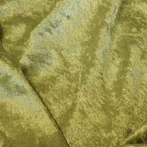 Olive Green Crushed Stretch Panne Velvet Fabric