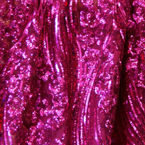Fuchsia Curved Hollywood Glamour Sequin Fabric