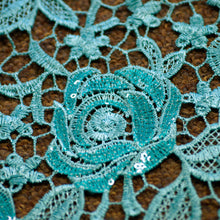 Aqua Rose Lace Fabric