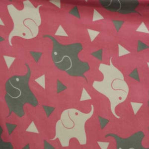 Gray & White Elephants on Watermelon Pink Fleece