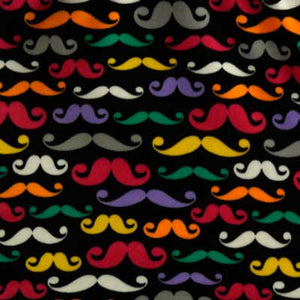 Colorful Mustaches on Black Fleece