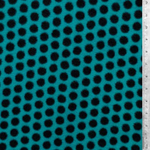 Black Polka Dots on Teal Fleece Fabric