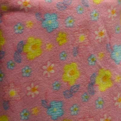 Yellow, Blue & White Flowers on Light Pink Fleece