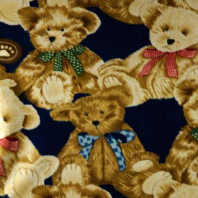 Brown & Tan Teddy Bear on Navy Blue Fleece