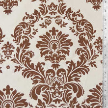 Flocked Ivory Taffeta w/ Brown Velvet Damask Fabric