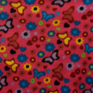 Colorful Butterflies & Flowers on Hot Pink Fleece