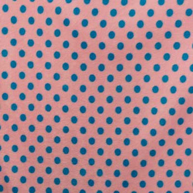 Blue Polka Dots on Light Pink Fleece