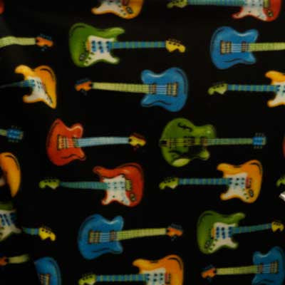 Colorful Guitars on Black Fleece