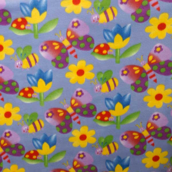 Colorful Butterflies & Flowers on Periwinkle Fleece Fabric