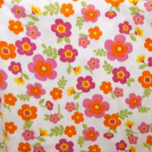 Orange and Fuchsia Daisies on White Fleece Fabric