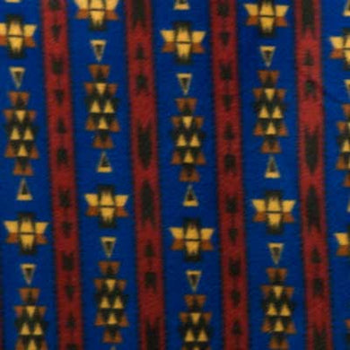 Blue, Red & Gold Southwest Print Fleece