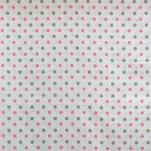 Pink and Gray Polka Dots on White Flannel