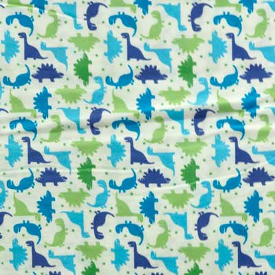 Blue & Green Dinosaur on White Flannel