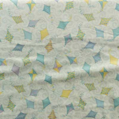 Blue, Yellow & Green Kites on Baby Blue Flannel