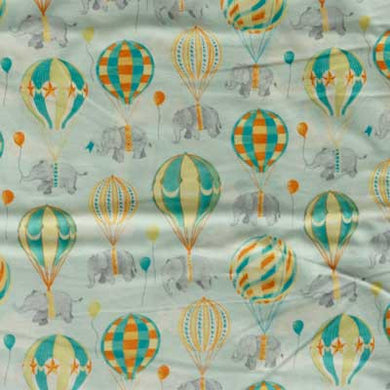 Blue & Orange Air Balloons with Elephants on Blue Flannel
