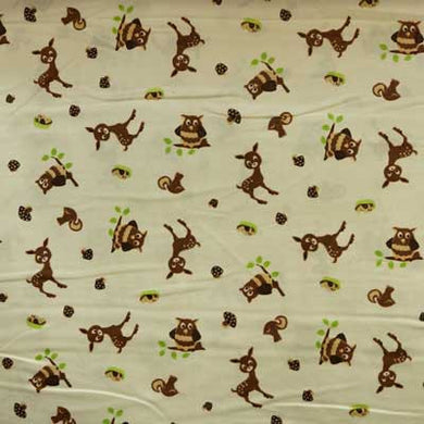 Owls & Deer on Tan Flannel