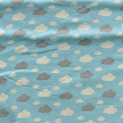 Gray & White Clouds on Baby Blue Flannel