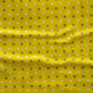 Gray & White Polka Dots on Yellow Flannel