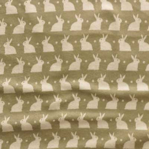 Whtie Bunnies on Gray Flannel