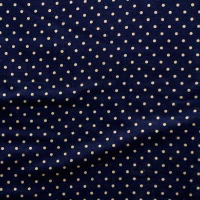 White Polka Dots on Navy Blue Flannel
