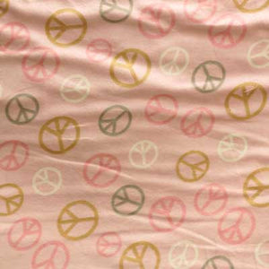 Pink, White, Tan & Gray Peace Signs on Pink Flannel