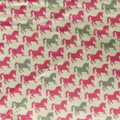 Gray & Pink Horse on White Flannel