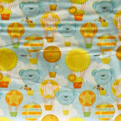 Baby Blue & Yellow Teddy Bears & Air Ballons Flannel