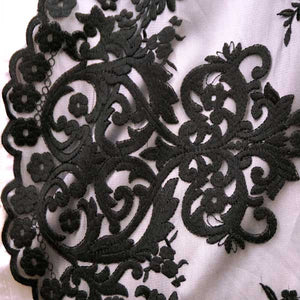 Black Kathleen Stretch Lace Fabric