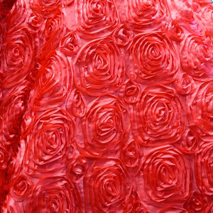Coral Rosette Satin Fabric