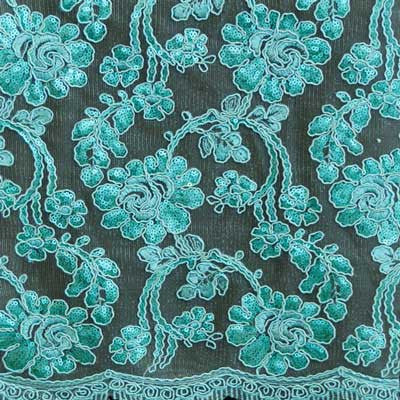 Aqua Renee Flower Lace Fabric