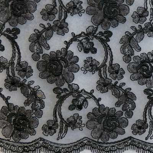 Black Renee Flower Lace Fabric