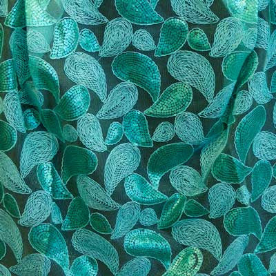 Aqua Embroidery Paisley Sequin Fabric