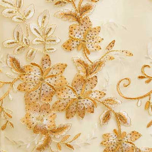 Gold Gloria Flower Lace Fabric