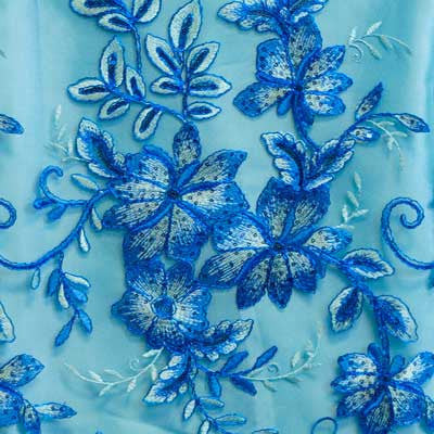 Royal Blue Gloria Flower Lace Fabric