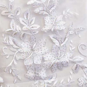 White Gloria Flower Lace Fabric