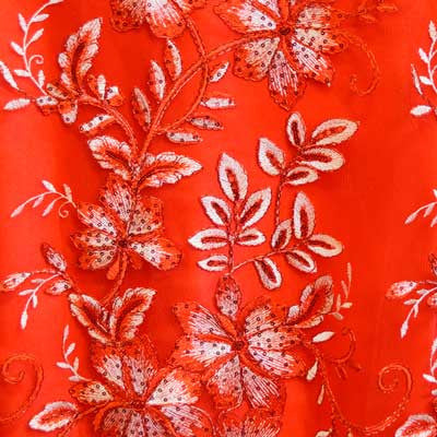 Red Gloria Flower Lace Fabric