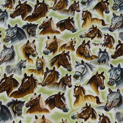 Brown and White Horse Equestrian Cotton Fabric