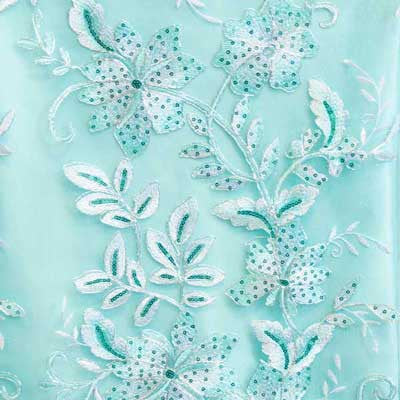 Aqua Gloria Flower Lace Fabric