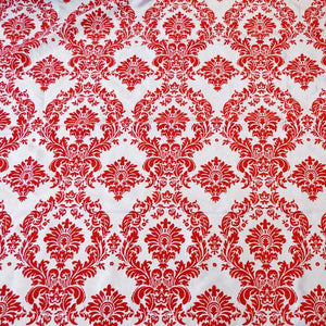 Flocked White Taffetta with Red Damask Fabric