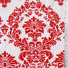 Flocked White Taffeta with Red Damask Fabric