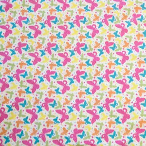 Colorful Butterflies on White Flannel