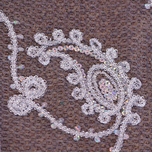 Chain Link Silver & White Paisley Lace on White Tulle Fabric