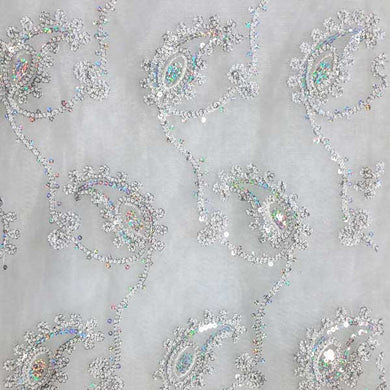 Sparkling Chainlink Silver & White Paisley Lace on White Tulle