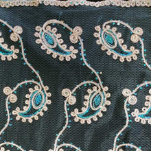 Chain Link Gold and Turquoise Paisley Lace on Turquoise Tulle Fabric