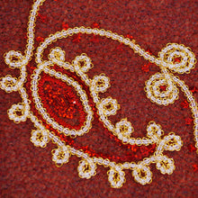 Chain Link Gold and Red Paisley Lace on Red Tulle Fabric